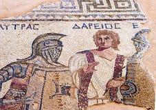Fragment av den forntida mosaiken i Kourion, Cypern Royaltyfri Bild