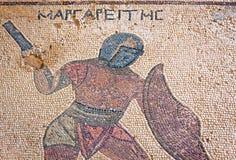 Fragment av den forntida mosaiken i Kourion, Cypern arkivbild