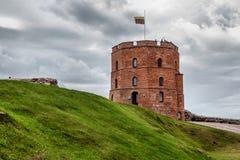 Fragment av den gamla staden med det berömda Gediminas tornet i Vilnius Fotografering för Bildbyråer