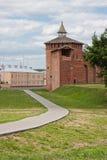 Fragment av den Kremlin väggen, stad Kolomna Arkivfoton