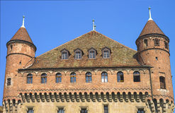 Fragment av den Lausanne slotten i sommar Fotografering för Bildbyråer