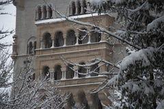 Fragment av den Neuschwanstein slotten i vintertid Fussen germany Arkivbild