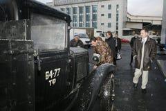 Fragment av den retro gamla bilen GAZ - motorförbundet, den berömda `-polutorka`en, bilen av det andra världskriget WW2 - USSR 19 Royaltyfria Bilder