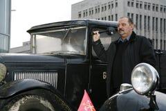 Fragment av den retro gamla bilen GAZ - motorförbundet, den berömda `-polutorka`en, bilen av det andra världskriget WW2 - USSR 19 Fotografering för Bildbyråer