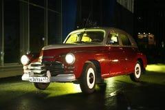 Fragment av den retro gamla bilen Volga GAZ Royaltyfri Foto