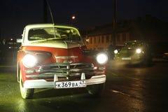 Fragment av den retro gamla bilen Volga GAZ Royaltyfri Bild