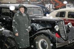 Fragment av den retro gamla bilen Volga GAZ - M1, de berömda högre tjänsteman för bilen för `-emka` under WW2EN - USSR 1930 Royaltyfri Fotografi