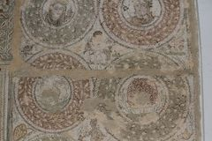 Fragment av den romerska mosaiken av El Jem, Tunisien Arkivbilder