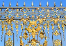 Fragment av det Catherine slottstaketet i Tsarskoye Selo Fotografering för Bildbyråer