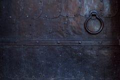Fragment av en gammal metalldörr Falska metallark för svart Fotografering för Bildbyråer