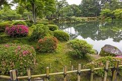 Fragment av en japansk trädgård med sjön och taggar med beautifu Arkivbilder