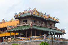 Fragment av en terrass av middagporten av den förbjudna imperialistiska staden Ton Vietnam arkivfoto