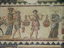 Fragment av ett härligt antikt mosaikgolv Arkeologiskt parkera Zippori, Israel arkivbild