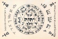 Fragment av för Kabbalistic för tappning handskriven text användbart a bön Royaltyfri Bild