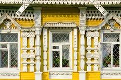 Fragment av fasaden av museet av stadsliv, Uglich, Ryssland Arkivfoto