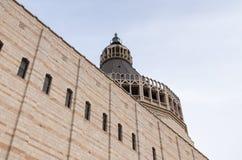 Fragment av fasaden av basilikan av förklaringen i den gamla staden av Nazareth i Israel Royaltyfri Foto
