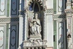 Fragment av fasaden av domkyrkan Santa Maria del Fiore Duomo, Florence, Italien Fotografering för Bildbyråer