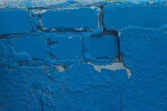 Fragment av gammal bakgrund för blåttmurbrukvägg Fotografering för Bildbyråer