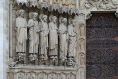 Fragment av garnering av Notre Dame de Paris Arkivbild