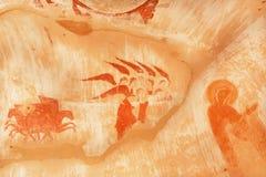 Fragment av historisk vägg- konst med änglar och symboler av kristendomen i grotta av den 6th århundradeDavid Gareja kloster Arkivfoton