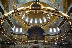 Fragment av inre av Sten Nicholas Cathedral Arkivfoto