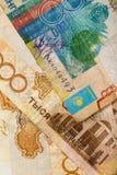Fragment av Kazakhsedeln med tenge 000 för värde 1 Fotografering för Bildbyråer