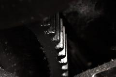 Fragment av kugghjulmekanismen Arkivfoton