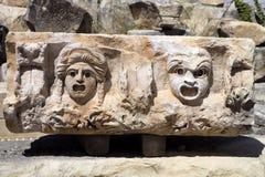 Fragment av lättnad Demre Myra, Turkiet Arkivbilder