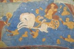 Fragment av målning i templet av halshuggningen av John The Baptist i staden av Yaroslavl, Ryssland royaltyfria bilder