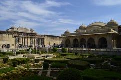 Fragment av majestätiska Amer Fort i Jaipur Rajasthan Indien Fotografering för Bildbyråer