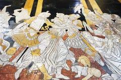 Fragment av marmorgolvet av Siena Cathedral Duomo di Siena Royaltyfria Bilder