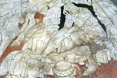 Fragment av marmorgolvet av Siena Cathedral Duomo di Siena Arkivbild