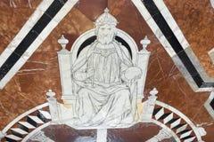 Fragment av marmorgolvet av Siena Cathedral Duomo di Siena Royaltyfri Foto