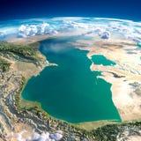 Fragment av planetjorden. Kaspiska hav Arkivbild
