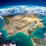 Fragment av planetjorden. Spanien och Portugal Royaltyfri Foto
