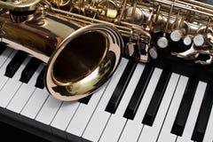 Fragment av saxofonen Royaltyfria Foton