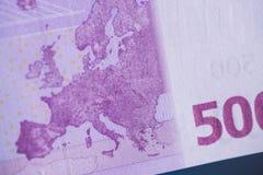 Fragment av sedeln för euro 500 Royaltyfria Foton