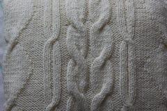 Fragment av stucken vit linne handwork fotografering för bildbyråer
