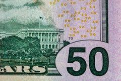 Fragment av 50 US dollar för räkning sida tillbaka Arkivbilder
