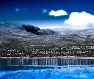 Fragment av utkant av kall Tromso bokehbakgrund arkivbilder
