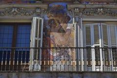 Fragment av väggmålningen på Casa de la Panaderia, Madrid Royaltyfri Bild