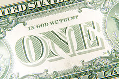 A fragment of the back of US dollar banknotes Royalty Free Stock Image