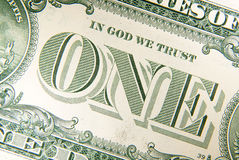 A fragment of the back of US dollar banknotes Stock Image