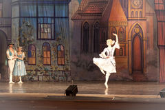 Fragment of ballet. KHARKOV, UKRAINE - JANUARY 5, 2012: A fragment of the ballet Coppelia by Leo Delibes at the Kharkov Academic Opera and Ballet Theatre on Royalty Free Stock Images