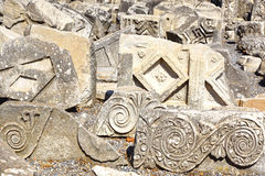 Fragment of a bas-relief in ancient city Ephesus. Royalty Free Stock Photo