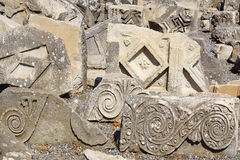 Fragment of a bas-relief in ancient city Ephesus. Royalty Free Stock Images