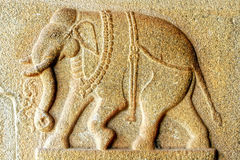 Fragment of Bas-relief of an ancient temple Royalty Free Stock Photos