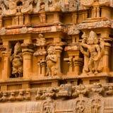 Fragment of bas-relief Hindu Brihadishvara Temple, India, Tamil Stock Images