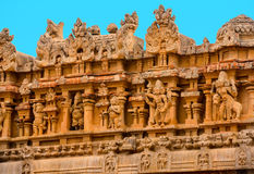 Fragment of bas-relief Hindu Brihadishvara Temple, India, Tamil Stock Photos