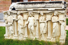 Fragment of a bas-relief in Iznik. Royalty Free Stock Photography